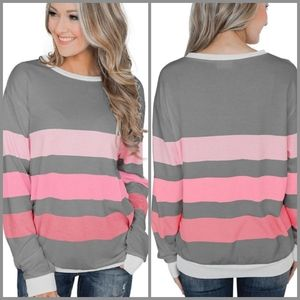 ❄ Grey & Pink Striped Pullover